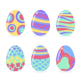 Ręcznie rysowane wielkanocne kolorowe jajka kolekcja