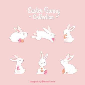 Ręcznie rysowane wielkanocne króliczki kolekcja