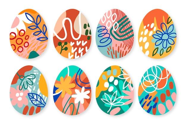 Ręcznie rysowane wielkanocny dzień koncepcja zbioru jaj