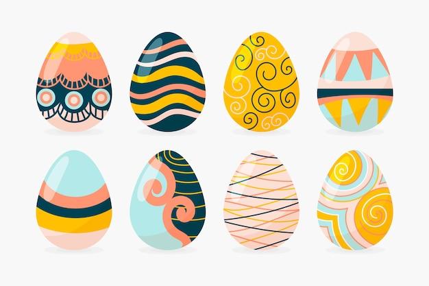 Ręcznie rysowane wielkanocny zbiór jaj