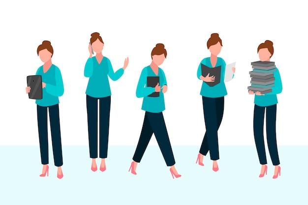 Ręcznie rysowane wielozadaniowość biznes kobieta ilustrowana