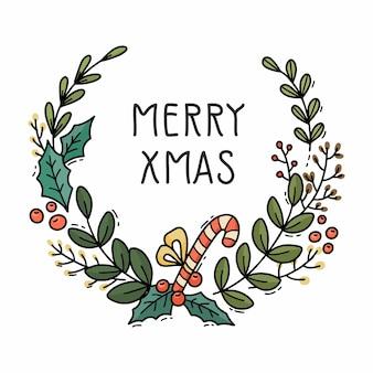 Ręcznie rysowane wieniec bożonarodzeniowy z cukierkami