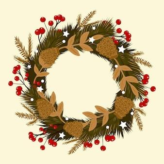 Ręcznie rysowane wieniec bożonarodzeniowy