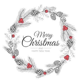 Ręcznie rysowane wieniec bożonarodzeniowy.