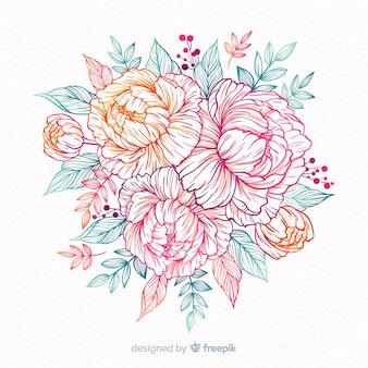 Ręcznie rysowane wieniec dekoracyjny kwiat