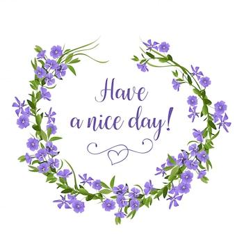 Ręcznie rysowane wieniec kwiatów z barwinków. wiosenne kwiaty szablon karty z pozdrowieniami.