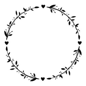 Ręcznie rysowane wieniec kwiatowy na białym tle