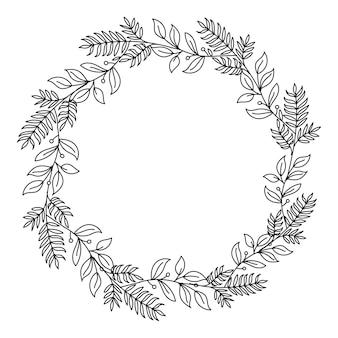 Ręcznie rysowane wieniec kwiatowy, ozdobne ramki. na białym tle