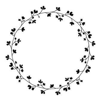 Ręcznie rysowane wieniec kwiatowy, ozdobne ramki.