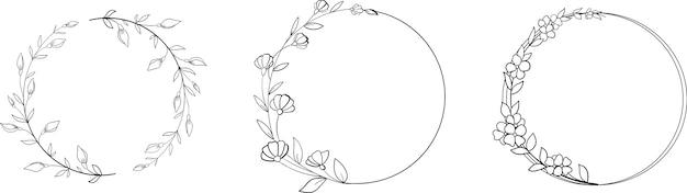 Ręcznie rysowane wieniec liniowy z kwiatami i liśćmi w stylu bazgroły