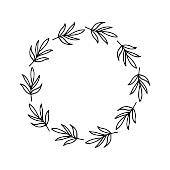 Ręcznie rysowane wieniec na białym tle czarna roślina doodle wieniec