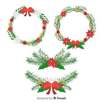 Ręcznie rysowane wieniec świąteczny z zimą kwiatowy