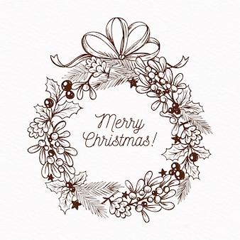 Ręcznie rysowane wieniec świąteczny