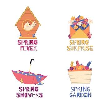 Ręcznie rysowane wiosenna kolekcja etykiet