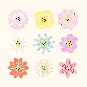 Ręcznie rysowane wiosenna kolekcja kwiatów