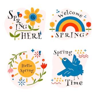 Ręcznie rysowane wiosenna kolekcja znaczków