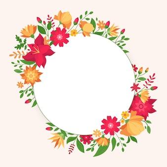 Ręcznie rysowane wiosenna rama kwiatowy