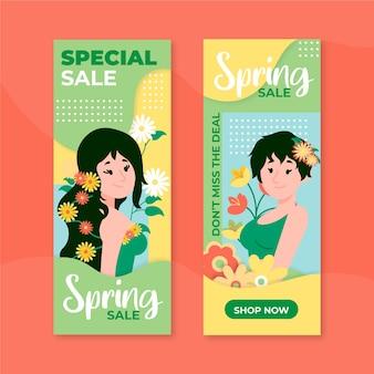Ręcznie rysowane wiosenna wyprzedaż banery
