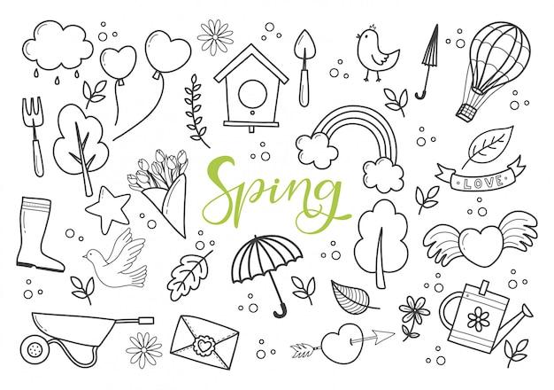 Ręcznie rysowane wiosenne gryzmoły z zestawem symboli wiosny.