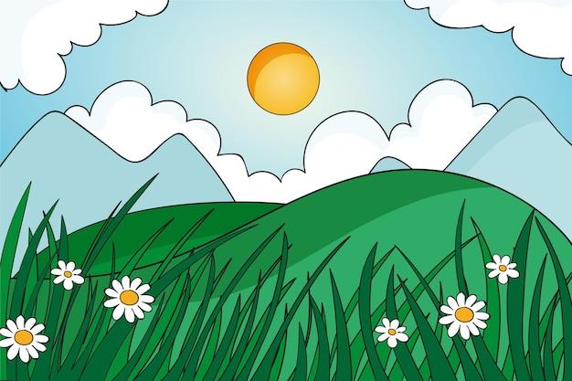 Ręcznie rysowane wiosenny krajobraz