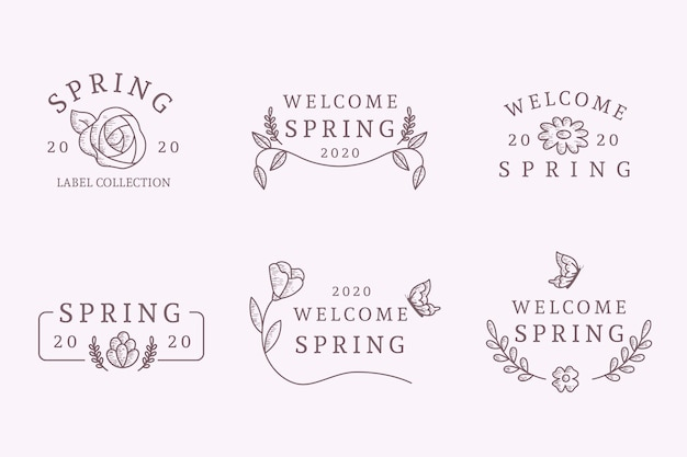 Ręcznie rysowane wiosenny projekt kolekcji etykiet