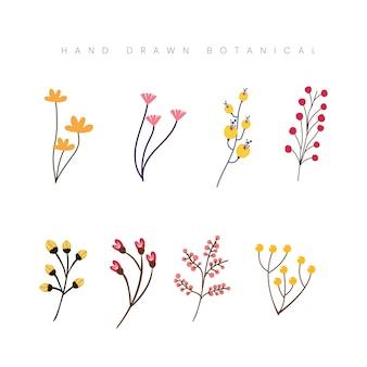 Ręcznie rysowane wiosna botaniczny kwiat kwiatowy ilustracja