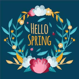 Ręcznie rysowane wiosna kwiatowy rama z kolorowymi kwiatami