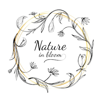 Ręcznie rysowane wiosna kwiatowy rama z naturą