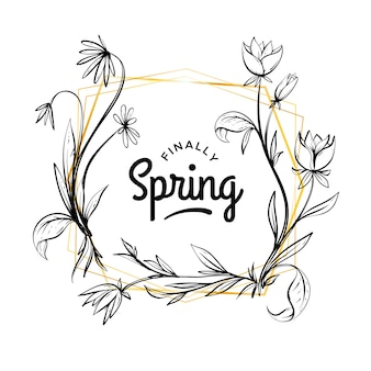 Ręcznie rysowane wiosna kwiatowy rama