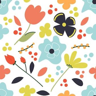 Ręcznie rysowane wiosna kwiatowy wzór płaska ilustracja