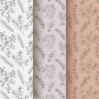 Ręcznie rysowane wiosna kwiatowy wzór