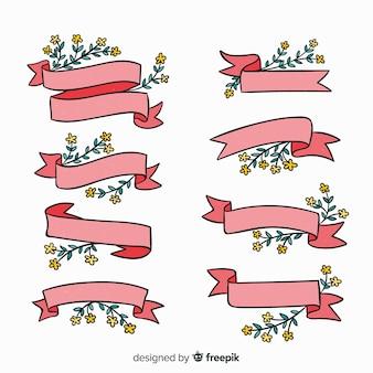 Ręcznie rysowane wiosną zestaw wstążka