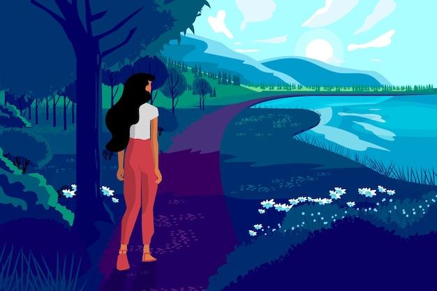 Ręcznie rysowane wiosnę krajobraz z kobietą i przyrodą