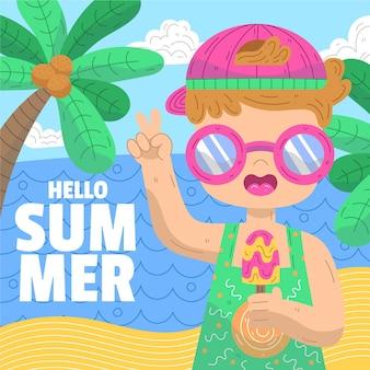 Ręcznie rysowane witaj koncepcja lato