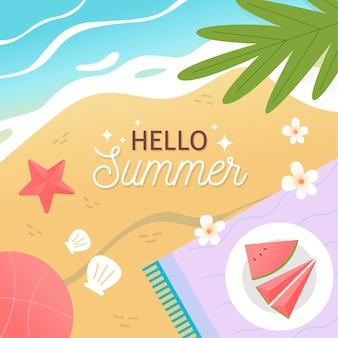 Ręcznie rysowane witaj lato koncepcji