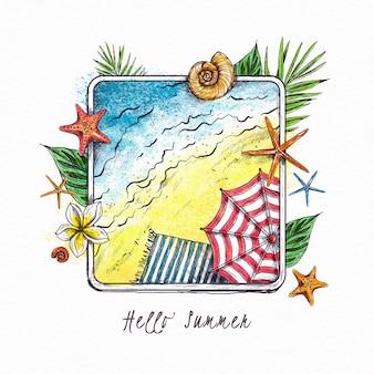 Ręcznie rysowane witaj lato tapeta