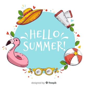 Ręcznie rysowane witaj lato tło