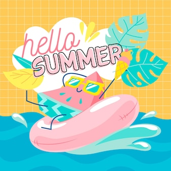 Ręcznie rysowane witaj lato z arbuza i wody