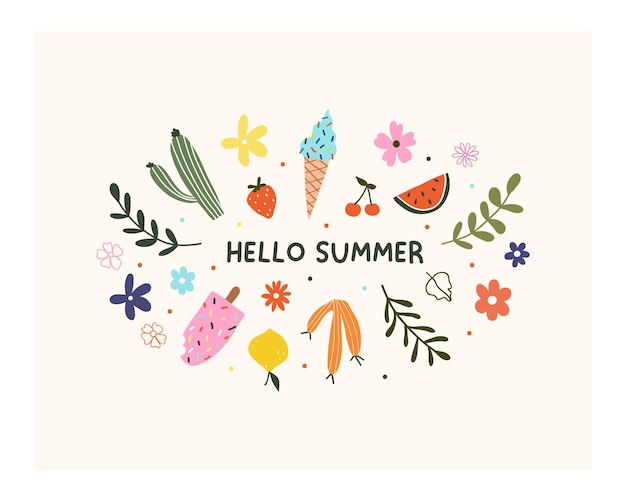Ręcznie rysowane witam lato kwiat, owoce, lody i liście na białym tle. ładny skandynawski szablon hygge dla karty z pozdrowieniami, projekt koszulki t. ilustracja wektorowa w stylu płaskiej kreskówki