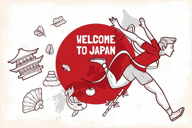 Ręcznie rysowane witamy w japonii w tle