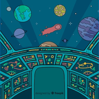 Ręcznie rysowane wnętrza statku kosmicznego tło