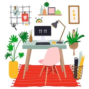 Ręcznie rysowane wnętrze miejsca pracy z komputerem na stole, rośliny, mood board, różowe krzesło i dywan w domu. ilustracja kreskówka.