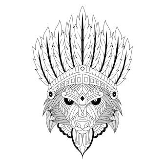 Ręcznie rysowane wodza plemienia wilka w stylu zentangle