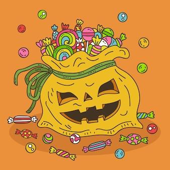 Ręcznie rysowane worek halloween ilustrowany
