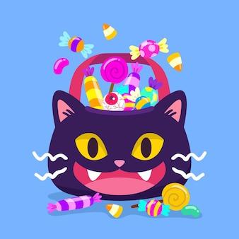 Ręcznie rysowane worek kota halloween