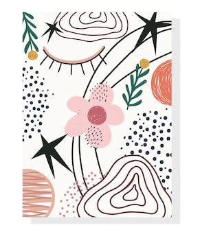Ręcznie rysowane współczesny, modny kolaż z nadrukiem
