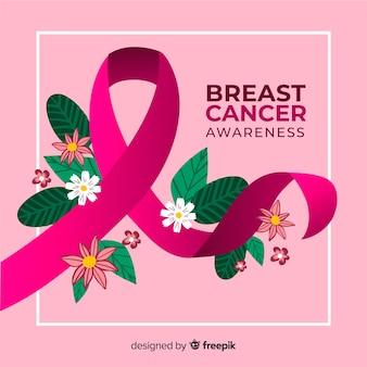 Ręcznie rysowane wstążką na dzień świadomego raka piersi