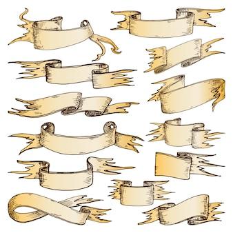 Ręcznie rysowane wstążki ilustracji wektorowych.