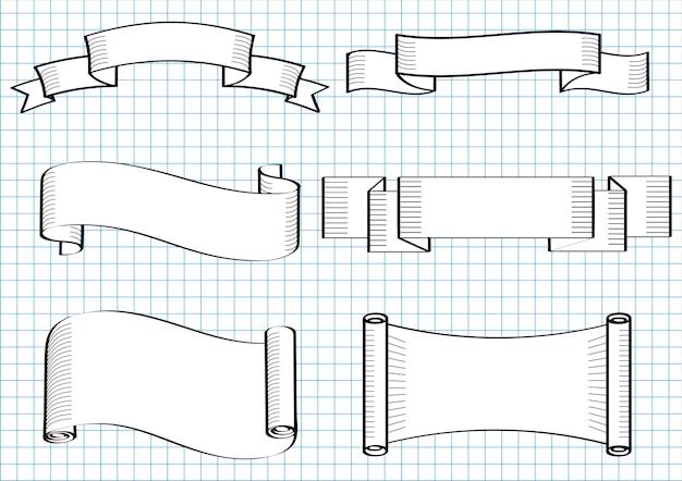 Ręcznie rysowane wstążki