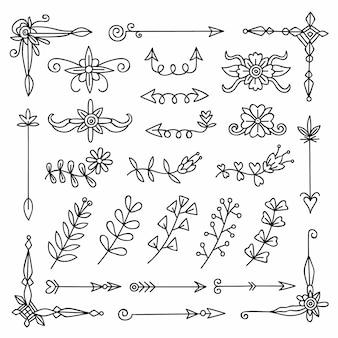 Ręcznie rysowane wybór elementów ozdobnych